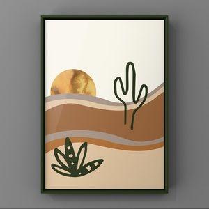 Modern boho sunset in desert cacti art prints
